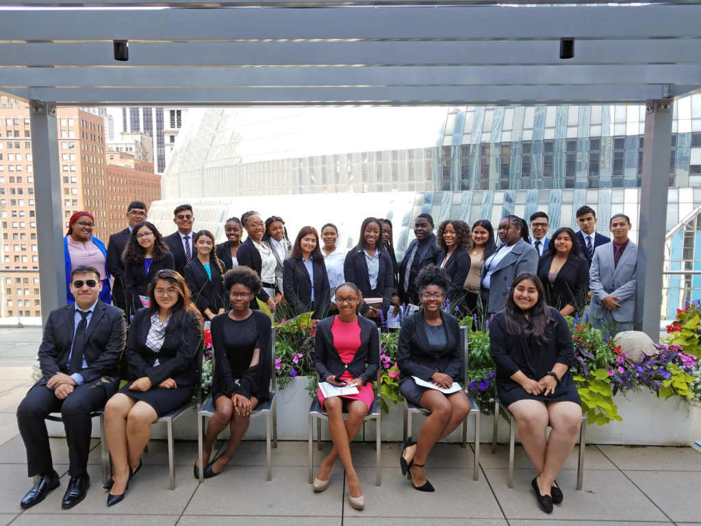 Genesys Works students posing for a picture during interview day